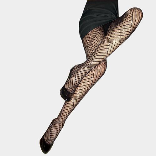 Color: Black Fishnet Unique Geometric Pattern Pantyhose.