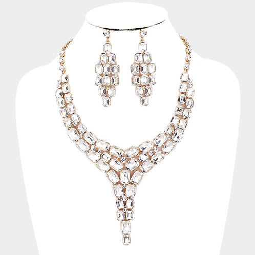 Color: Clear, Gold Crystal Statement Drop Evening Necklace.