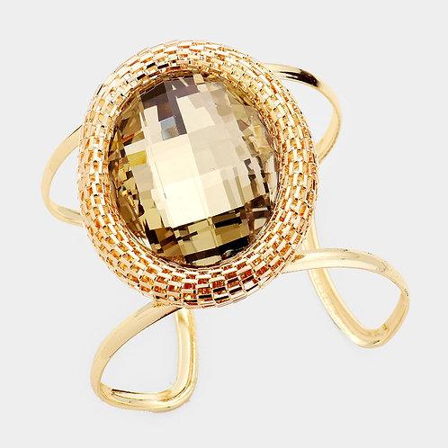 Color: Brown, Gold Oval Crystal Metal Trim Cuff Bracelet.