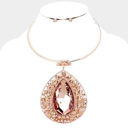 Color: Preach, Rose Gold Crystal Teardrop Pave Necklace.