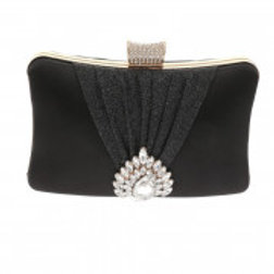Gold Metal Frame Black Satin Evening Bag