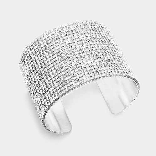 Color: Rhodium, Clear Crystal Cuff Braclet.
