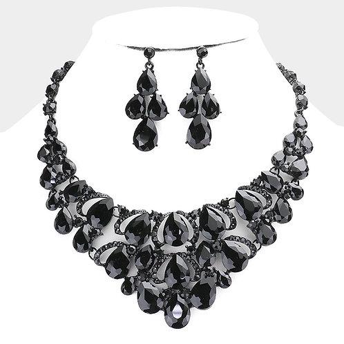 Color: Jet Black Teardrop Stone Cluster Evening Necklace.