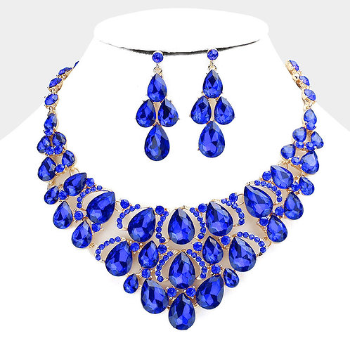 Color: Sapphire, Teardrop Evening Necklace.