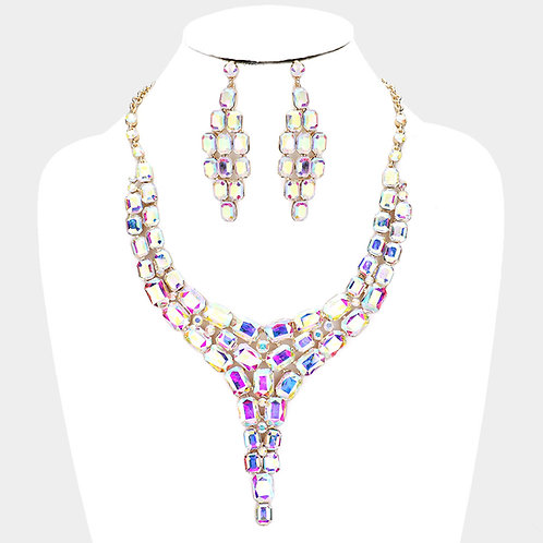 Color: AB, Gold, Crystal Statement Drop Evening Necklace.