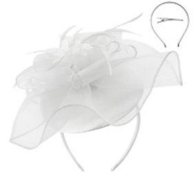Color: White Mesh Floral Feather Cap.