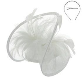 Color: White Mesh Netting Feather Fascinator.