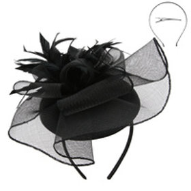 Color: Black Mesh Floral Cap Fascinator.