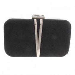 Silver & Black Glitter Clutch Bag.