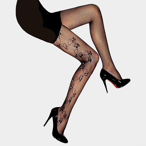 Color: Back, Clear Floral Vine Design With Crystal Fishnet Pantyhose.