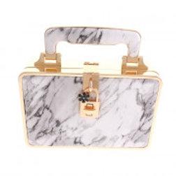 Gold Metal Frame White Marble pattern Clutch Bag