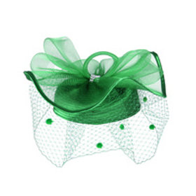 Color: Green Satin Braid Pillbox Hat Mesh Bow.