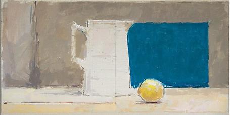 Still life painting jug lemon