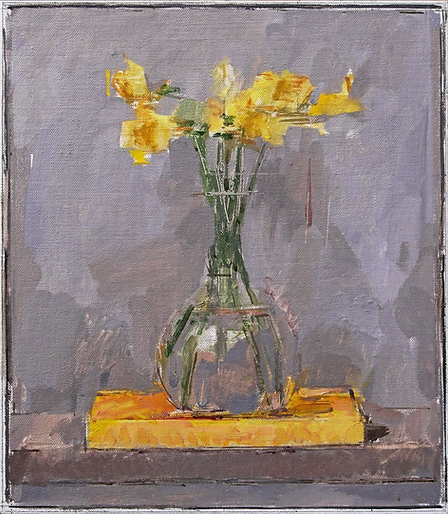 Daffodils carafe grey painting