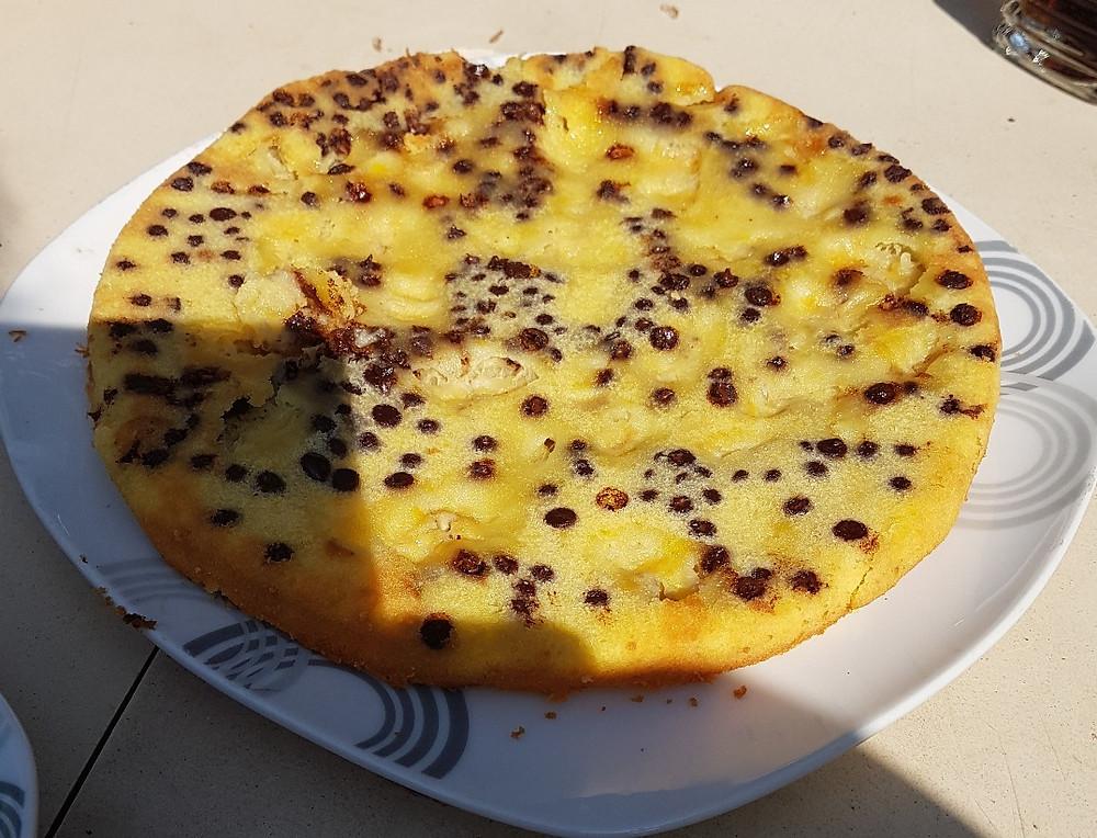 Gâteau moelleux pépites de chocolat & bananes