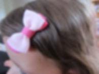 barrettes little mademoiselle, noeud rose et blanc glissent pas