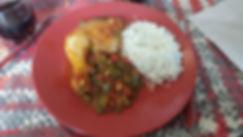 cuisse de poulet basquaise, riz, poulet basquaise, poivrons, tomate