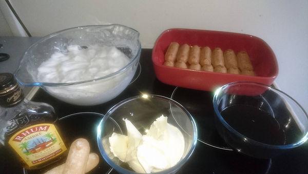 tiramissu light, ingrédients et plats pyrex