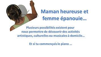 maman heureuse femme épanouie activité artistiques culturelle mes cours de pianocom