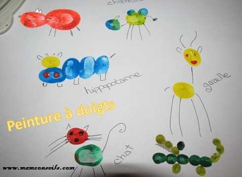 peinture à doigts, idées animaux avec les doigts