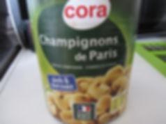 conserve, boite, champignon de paris, cora, pieds et morceaux, cake aux légumes