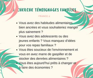 Recherche des témoignages familles pour France 2