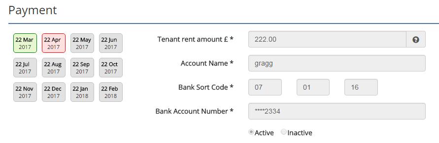Direct Debit rent collection schedule
