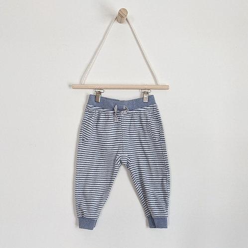 Blue Striped Cotton Pants (6-9m)