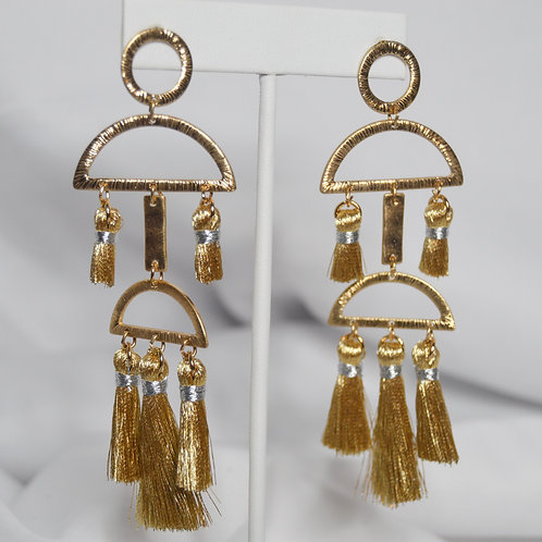 Tassel Geometric Drop Earrings
