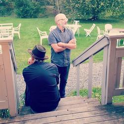 Andon Davis, Michael Krayniak wait for thier set at Svalbo Cafe in Nora, Sweden