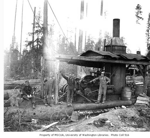 Logging crew and donkey engine, English