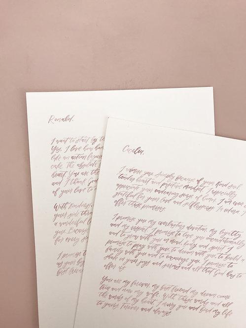 Custom watercolor lettering vows set