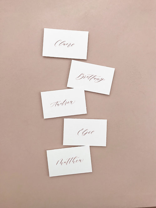 Calligraphy place cards/escort cards - set of 10