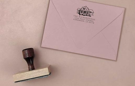 House illustration rubber stamp