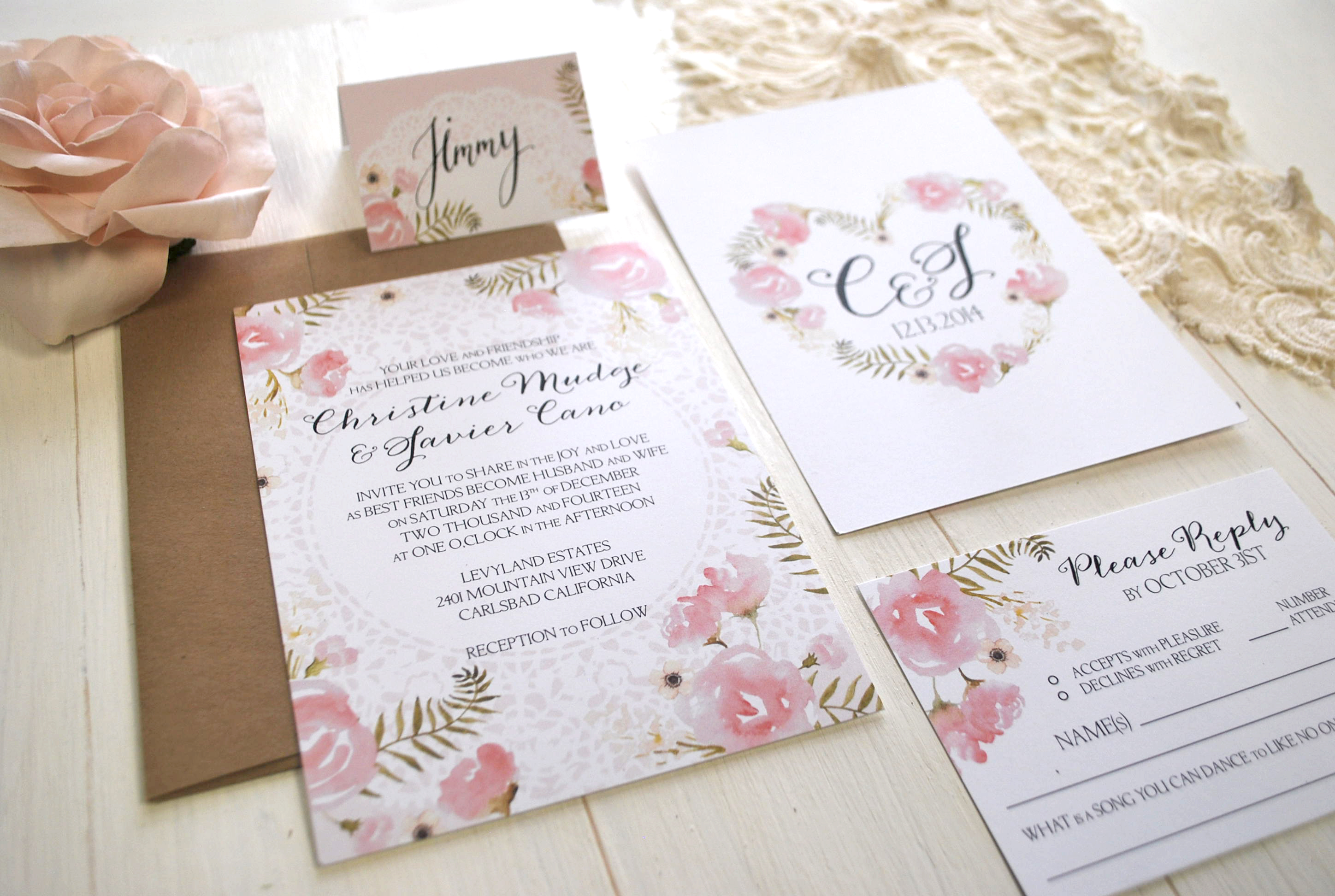 Romantic Pink and Lace Suite // Wedding Invitations | fourthingspaper