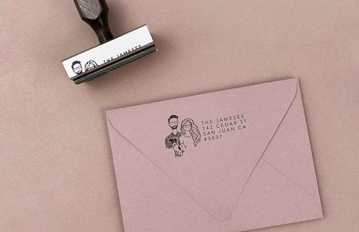 Family illustration rubber stamp