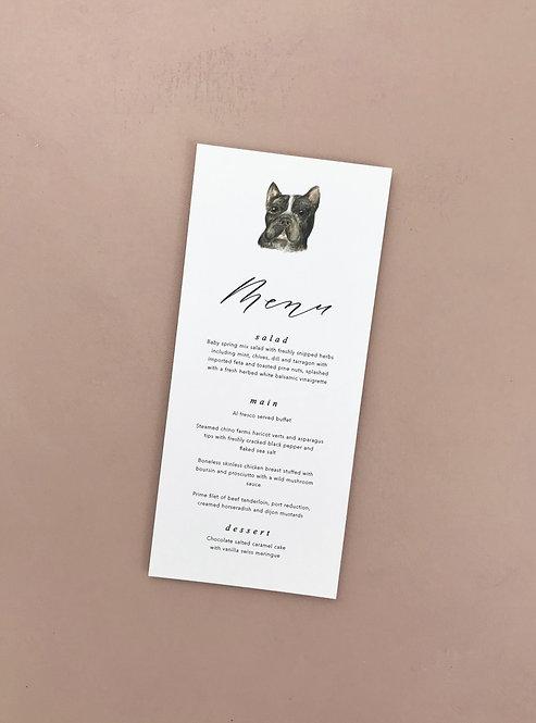 Pet portrait menus