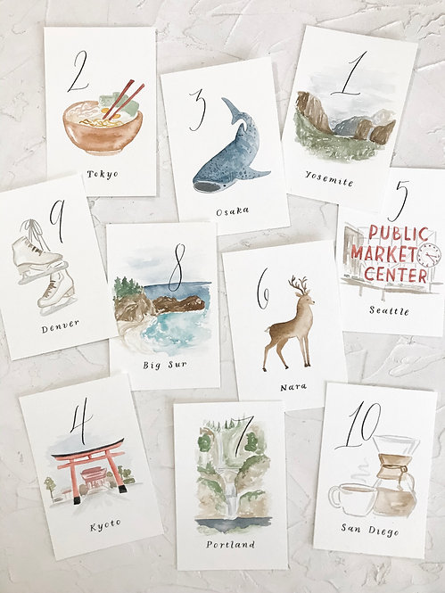 Illustrated table numbers