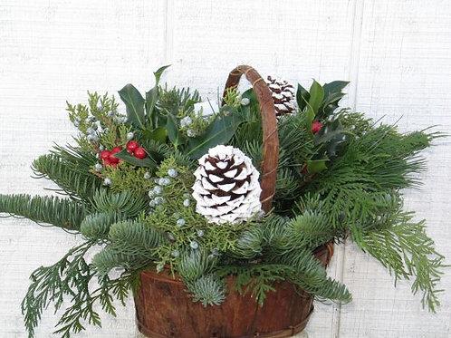 Wooden Bark Basket Centerpiece