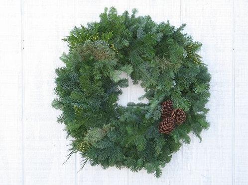 "Mixed Evergreen Wreath 36"" Hand Tied"