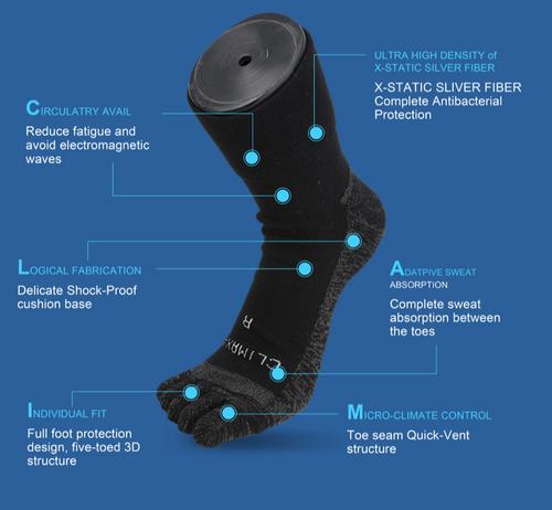 BCI X-Static Silver Infused Five Finger Socks | Billions Centuries, Inc.
