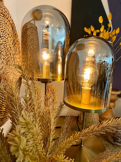 LAMPE DE TABLE VERRE ET OR MODELE S
