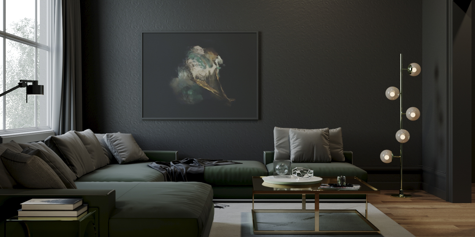 Dark Living room Render