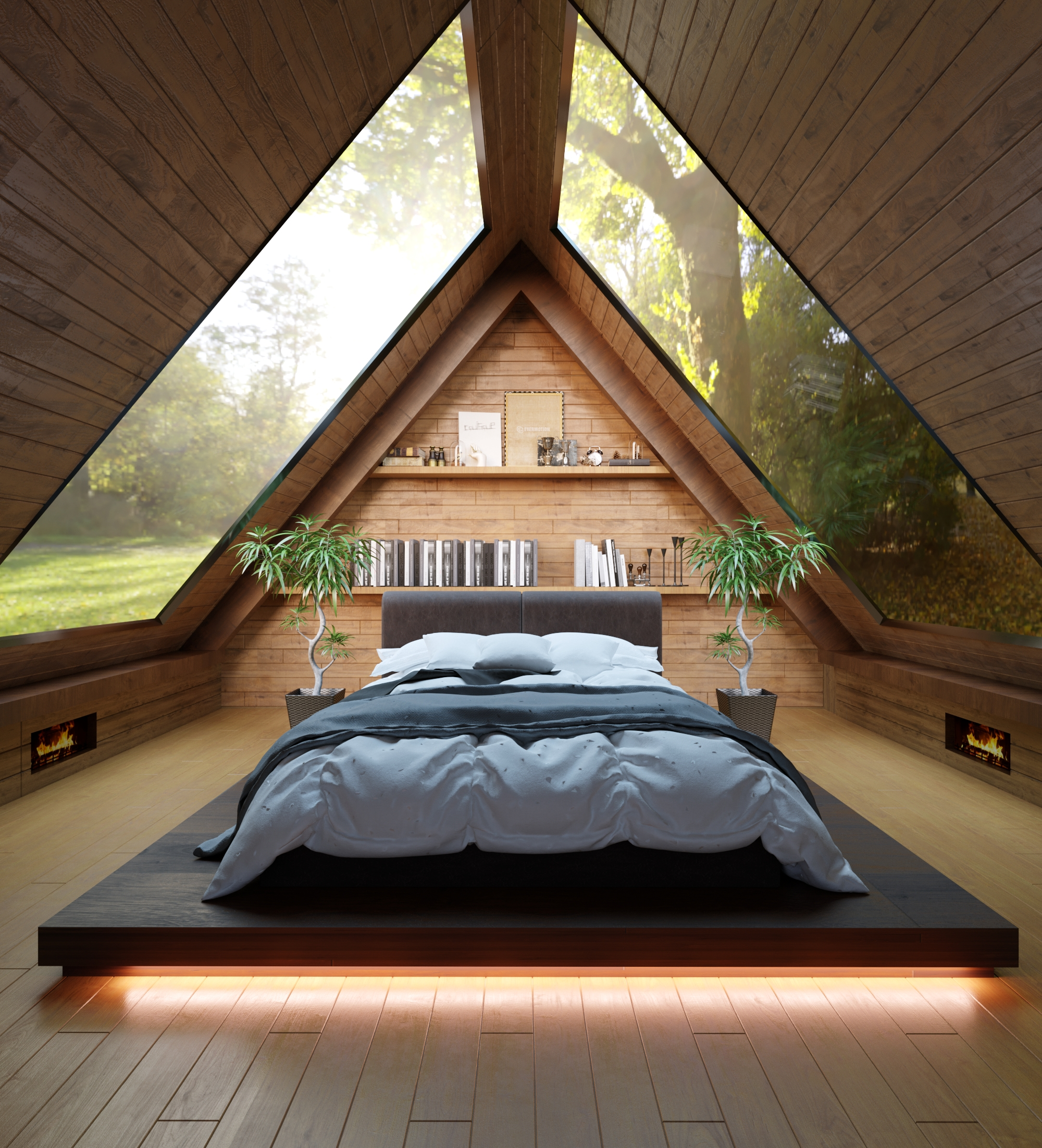Triangular Bedroom Render