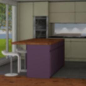 Schreiner Küche Goldau,Schreiner Küche Schwyz, Planung, Holzabdeckung, Front pulverbeschichtet, Goldau, Zentralschweiz, Innerschweiz, Kt. Schwyz