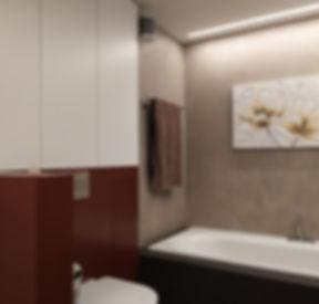 Badezimmer Umbau 3D-Planung Naturofloor LED-Lichtband Schmidlin-Wanne auf Mass