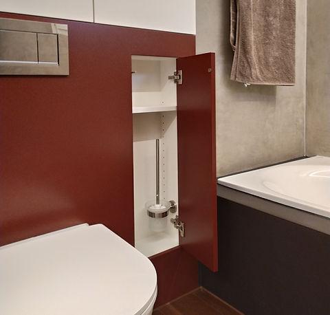 Badezimmer, Möbel auf Mass, Spezialdetail, flächenbündig, Naturofloor, Goldau, Kt. Schwyz, Schweiz