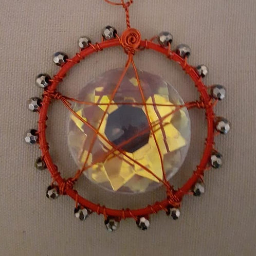 Red Metal and Gunmetal Bead Window Suncatcher