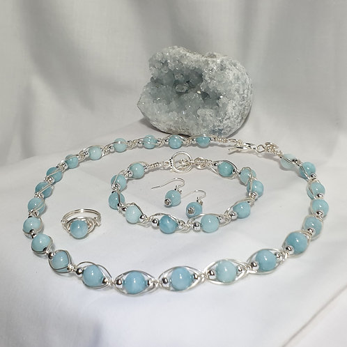 Silver plated wire with Natural Aquamarine and silver col bead Necklet Set