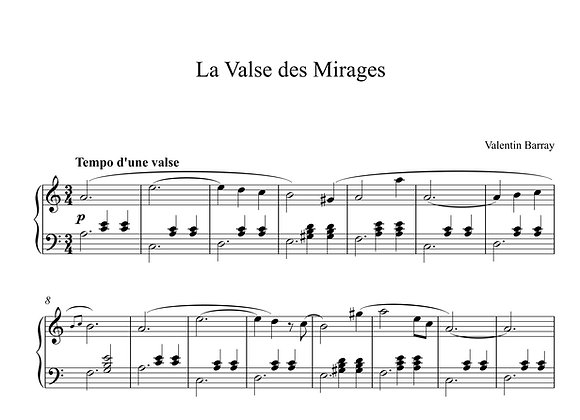 La Valse des Mirages - La partition originale